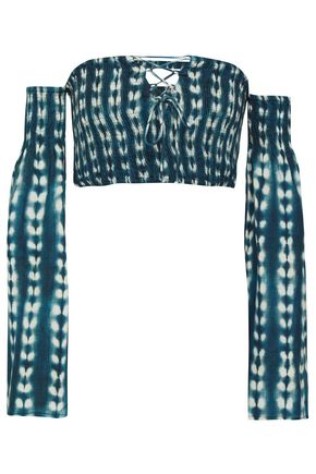 TORI PRAVER SWIMWEAR Off-the-shoulder tie-dyed gauze top