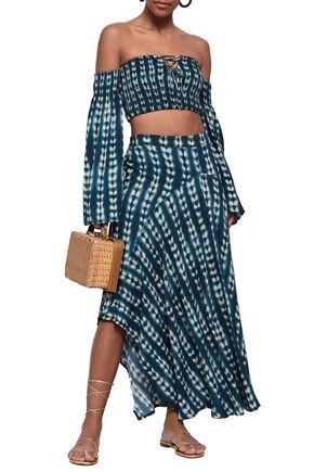 TORI PRAVER SWIMWEAR Tie-dyed gauze maxi skirt