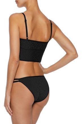 DUSKII Ochre embossed neoprene low-rise bikini briefs