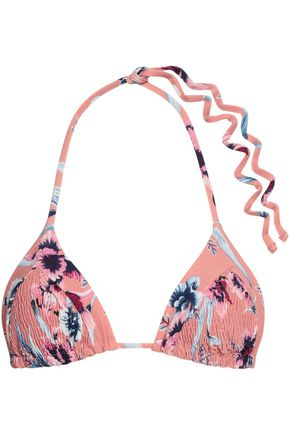 TORI PRAVER SWIMWEAR Shirred floral-print triangle bikini top