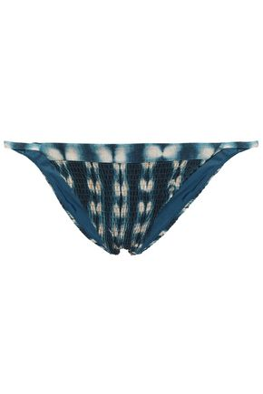 TORI PRAVER SWIMWEAR Shirred tie-dyed low-rise bikini briefs