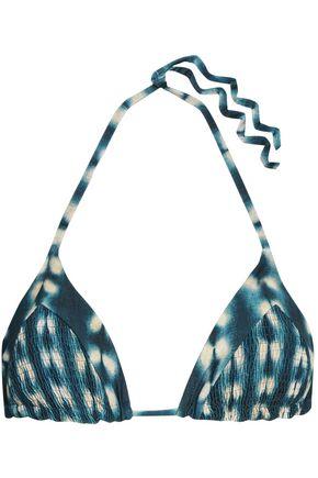 TORI PRAVER SWIMWEAR Shirred tie-dyed triangle bikini top