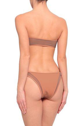 TORI PRAVER SWIMWEAR Mesh-paneled ribbed low-rise bikini briefs