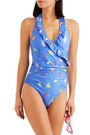 GANNI Dexies wrap-effect printed halterneck swimsuit