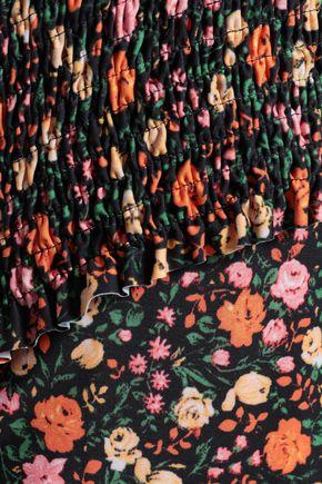 GANNI Ipanema shirred floral-print halterneck swimsuit