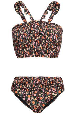 GANNI Shirred floral-print bikini