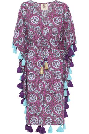 FIGUE Amrita tassel-trimmed printed cotton-voile kaftan