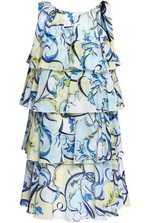 EMILIO PUCCI Tiered cotton and silk-blend voile mini dress