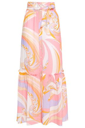 EMILIO PUCCI Belted printed seersucker maxi skirt