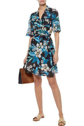 DIANE VON FURSTENBERG Floral-print cotton and silk-blend wrap dress 717c2aff0