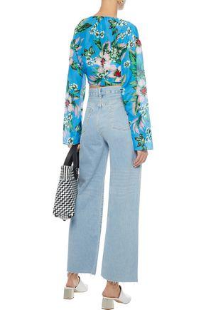 DVF WEST DIANE VON FURSTENBERG Tie-front cropped floral-print cotton and silk-blend top