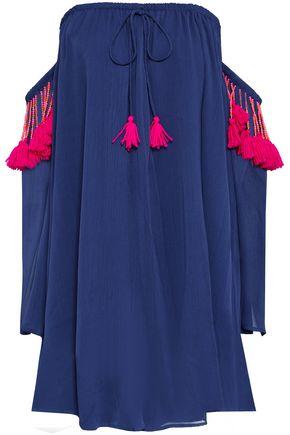 SUNDRESS Venus off-the-shoulder embellished georgette mini dress