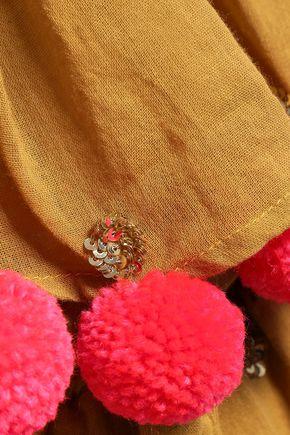 SUNDRESS Sofia layered embellished cotton-gauze playsuit