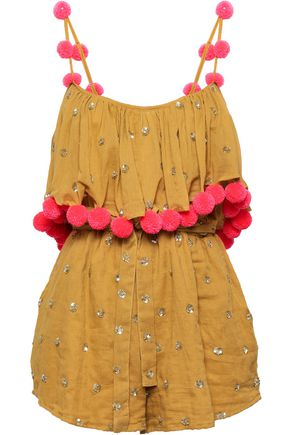 SUNDRESS Sofia embellished cotton playsuit