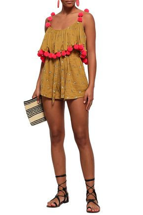 SUNDRESS Sofia layered embellished cotton-gauze playsuit
