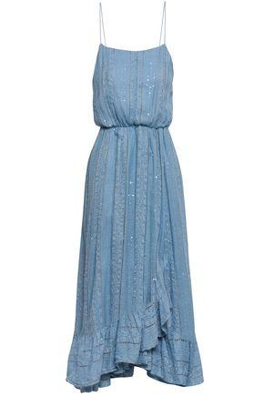 SUNDRESS Gathered sequin-embellished gauze midi dress