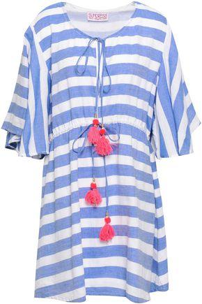 SUNDRESS Tasseled striped cotton mini dress