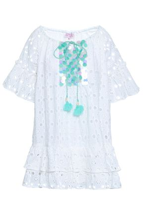SUNDRESS Embellished broderie anglaise cotton coverup