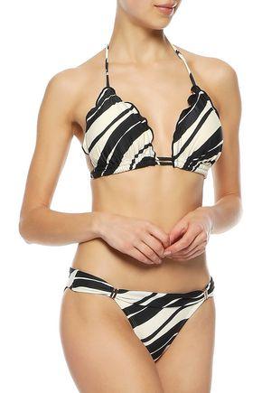VIX PAULA HERMANNY Blanca ruffle-trimmed striped triangle bikini top