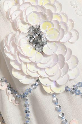SUNDRESS Embellished silk crepe de chine coverup