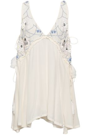 SUNDRESS Embellished silk crepe de chine coverup