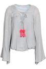 SUNDRESS Anais lace-up sequin-embellished cotton-gauze top