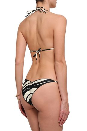 VIX PAULA HERMANNY Ruffle-trimmed striped low-rise bikini briefs