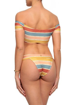 VIX PAULA HERMANNY Off-the-shoulder striped bikini top