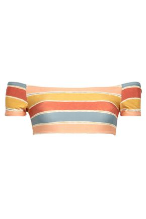 VIX PAULA HERMANNY Off-the-shoulder striped bikini top