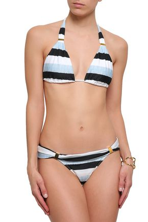 Vix Paula Hermanny Striped Low-rise Bikini Briefs In Blue