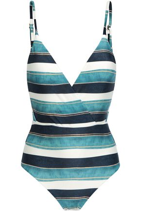 VIX PAULA HERMANNY Wrap-effect striped swimsuit