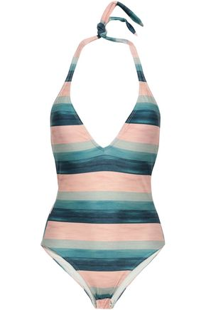 VIX PAULA HERMANNY Striped halterneck swimsuit