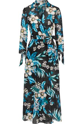 DVF WEST DIANE VON FURSTENBERG Floral-print cotton and silk-blend midi wrap dress
