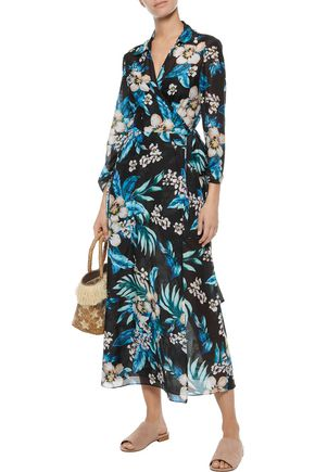 f7f95d947b52 DVF WEST DIANE VON FURSTENBERG Floral-print cotton and silk-blend midi wrap  dress