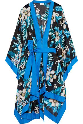 DVF WEST DIANE VON FURSTENBERG Printed cotton and silk-blend coverup