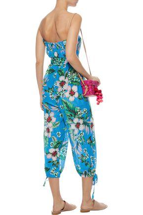 DVF WEST DIANE VON FURSTENBERG Strapless cropped floral-print cotton and silk-blend jumpsuit