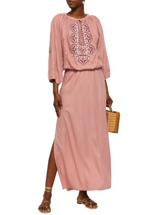 MELISSA ODABASH Gathered embroidered voile maxi dress
