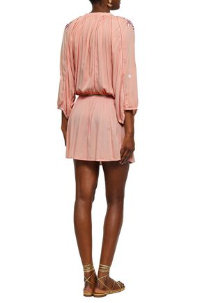 MELISSA ODABASH Gathered embroidered voile mini dress
