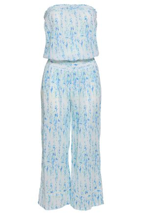 HEIDI KLEIN Shirred printed cotton-gauze jumpsuit