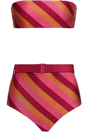 Striped High Rise Bandeau Bikini by Zimmermann