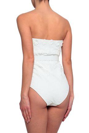 ZIMMERMANN Strapless belted floral-appliquéd swimsuit