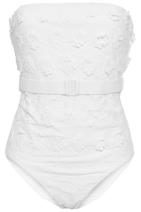 ZIMMERMANN Belted floral-appliquéd swimsuit