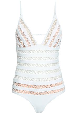 ZIMMERMANN Open-back lattice-paneled swimsuit