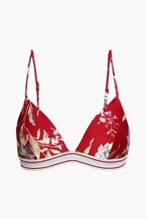 ZIMMERMANN Floral-print triangle bikini top