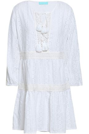 MELISSA ODABASH Reid tasseled embroidered cotton mini dress