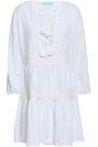 MELISSA ODABASH Reid tasseled embroidered cotton mini dress