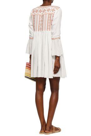 MELISSA ODABASH Natalia embroidered cotton mini dress