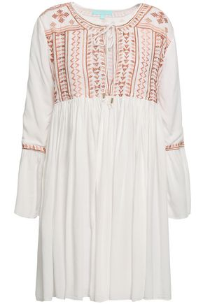 MELISSA ODABASH Natalia embroidered cotton mini dress