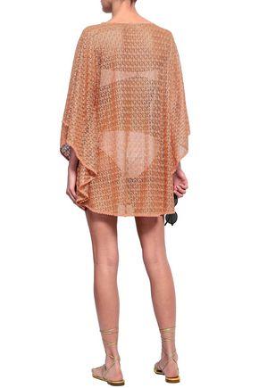 MELISSA ODABASH Madison metallic crochet-knit coverup