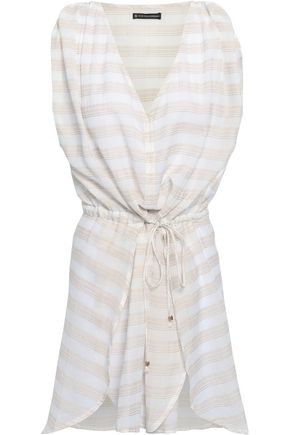 VIX PAULA HERMANNY Striped cotton-blend gauze coverup